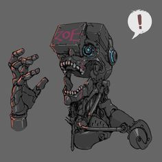 ArtStation - VR Ching Yeh See how much i can kitbash this guys from free assets Arte Ninja, Arte Robot, Robot Art, Cyberpunk Aesthetic, Arte Cyberpunk, Cyberpunk 2077, Character Concept, Character Art, Gato Anime