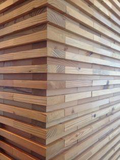Slatted wood wall
