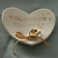 Personalised Wedding Ring Dish Porcelain Heart with by joheckett, £45.00