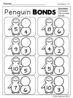 Turkey Number Bonds- Complete the number bond for each