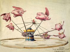 "Walt's original concept drawing for the Dumbo ride.  Because all of them are pink, I'm guessing this was supossed to be some kind of homage to the ""Pink Elephants On Parade"" song from the movie."