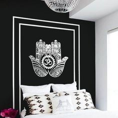 Yellow on Gray option: Wall Decal Vinyl Sticker Decals: Hamsa Hand Om Lotus indian Buddha Ganesh (r1127)