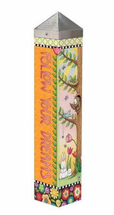 Welcome Art Pole ~ Merriment – Mary Engelbreit Studios Mary Engelbreit, Minis, Peace Pole, Garden Poles, Studios, Pole Art, Bird Houses Painted, Painted Sticks, Outdoor Art