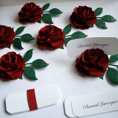 Wedding Paper Flower - The Lady Flora Handmade - Place Card Holders - set of 50 flowers with leaves - Custom order available