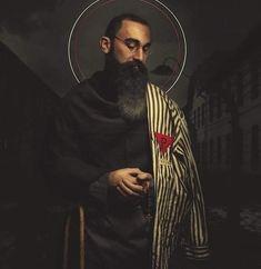 Catholic Art, Catholic Saints, Religious Art, Maximillian Kolbe, St Maximilian, San Francisco, Pope John, Eucharist, Catechism