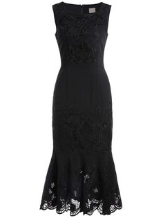 Black Boat Neck Sleeveless Embroidered Hollow Fishtail Dress