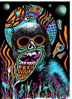 "Psychedelic Original Artwork ""Feed your Head"" 1960s Psychedelia"