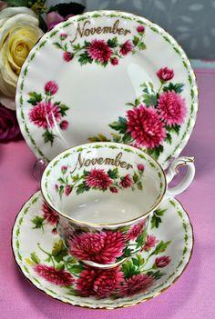 Royal Albert November Chrysanthemum vintage tea trio