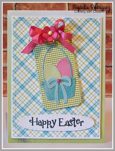 Easter card with the Stitched Rectangles Dies from Gina Marie Designs, Hello Chickie! stamp set & the Stitched Oval Die from My Creative Time.