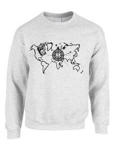 Goloverve world map compass t shirt comfort colors from adult crewneck world map compass cool stuff trendy top crewneck longsleeve compass globe earth gumiabroncs Images