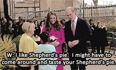 The Duke and Duchess of Cambridge talking to Mia Lawrence about Shepherd's Pie.  Stephen Lawrence Centre in Deptford (27th March 2015)