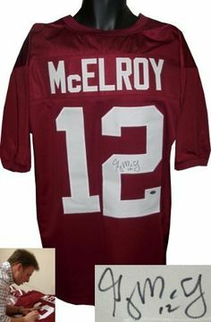 Greg McElroy Autographed/Hand Signed Alabama Crimson Tide Maroon Custom Jersey- McElroy Hologram by Hall of Fame Memorabilia. $217.95. Greg McElroy was the starting quarterback for the Crimson Tide football team. As a junior he led the Crimson Tide to an undefeated 14�0 season which included the 2009 SEC Championship and BCS National Championship. Greg McElroy has hand signed this Alabama Crimson Tide Maroon Custom Jersey. Private Signing 2/23/2013 in Hoover AL...