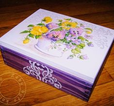 Decoupage Glass, Decoupage Box, Decoupage Vintage, Ceramic Boxes, Wooden Boxes, Tole Painting, Painting On Wood, Shabby Chic Boxes, Painted Boxes