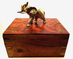 Wooden Box with Lid and Metal #Elephant Figurine Brass Inlay #WoodenBox