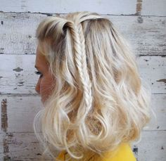 image of HOW-TO: Beach Wave Faux Bob With a Fishtail Braid