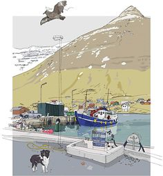 Olivier Kugler - Hvannasund, Faroe Islands.  This is one of my favorite travel sketch artists in the world.  His work reminds me of Herge, the author of Tintin.