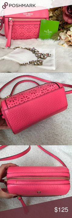 """Kate Spade 'Perri Lane Bubbls' Bag✨ Beautiful coral/pink bag. In like new condition. No visible signs of wear. Retails for $248! The last pic is me wearing the bag. Im 5"""" tall for reference. Lightweight and great for on the go. Accepting reasonable offers kate spade Bags Crossbody Bags"""