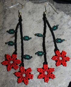 Huichol Flower Beaded Earrings by HuicholArte on Etsy