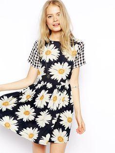 Black Plaid Short Sleeve Sunflower Print Skater Dress
