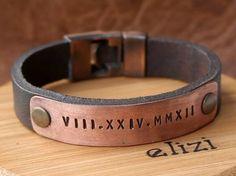 FREE SHIPPING Mens Personalized Leather BraceletCustom