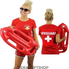 8d28822514fa LADIES LIFEGUARD TOP   INFLATABLE FLOAT SET 80 S TV FILM FANCY DRESS BEACH  GUARD