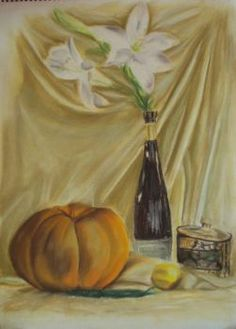 Citrouilles 2007 Tableau peinture pastel