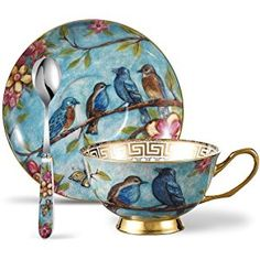 Panbado 3 Piece Bone China Tea Cup Saucer Set With Spoon Porcelain Gold Rimmed Teacup Coffee, Flower And Birds, 200 mL/6.8 oz., Blue