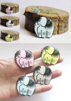 Cute Colourful Elephant brooch pin - made from polymer clay and featuring an illustration by Anna Tsukanova - Free shipping by Dinabijushop, based in Ukraine and selling on Etsy