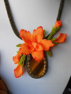 """Necklaces with beads and natural stones """"Orange Orchid"""" beaded jewelery, brown… Beaded Jewelry Patterns, Beading Patterns, Flower Patterns, Seed Bead Flowers, Beaded Flowers, Bead Jewellery, Jewelry Making Beads, Seed Bead Necklace, Beaded Necklace"""