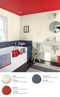 Transform your bathroom with Benjamin Moore's Aura Color Stories 2017 collection. Benjamin Moore, Budget Bathroom, Small Bathroom, Bathrooms, Interior Paint, Interior And Exterior, Tranquil Bathroom, Colored Ceiling, Ceiling Color
