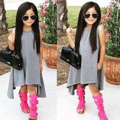 "Material: COTTONStyle: ""European and American StyleDecoration: RufflesSilhouette: AsymmetricalSleeve Length(cm): SleevelessPattern Type: SolidSleeve Style: REGULARDresses Length: Mid-CalfCollar: O-neckBuilt-in Bra: NoDepartment Name: ChildrenGender: Girls Wedding Dresses For Kids, Little Girl Outfits, Little Girl Fashion, Little Girl Dresses, Toddler Fashion, Toddler Outfits, Kids Outfits, Kids Fashion, Girls Dresses"