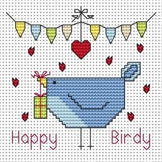 Happy Birdy (Birthday) Cross Stitch Card - Fat Cat Cross Stitch.