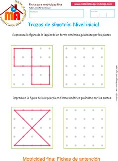 Ejercicio 7: Actividadesescolares de trazos de simetría paradesarrollar la memoria y la atencióncon los niños. Actividades a realizar: Reproduce las figu