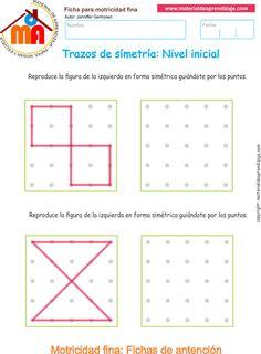 Ejercicio 7: Actividades escolares de trazos de simetría para desarrollar la memoria y la atención con los niños. Actividades a realizar: Reproduce las figu