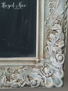 Vintage Frame Chalkboard in Annie Sloan Duck Egg, CoCo and Old White with Dark Wax glaze {by Hazel Mae Home}. Very useful info! Chalk Paint Mirror, Mirror Painting, Painting Frames, Diy Painting, Redo Mirror, Faux Painting, Texture Painting, House Painting, Chalk Paint Projects