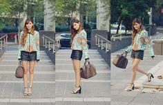 Oasap Spiked Collar, Maple Ave Print Jacket, Forever New Leather Shorts, Nowhere Leather Shoes, Louis Vuitton Speedy 30