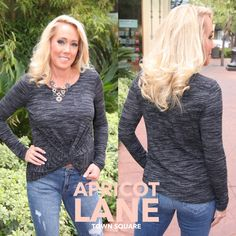 """A fun TWIST on a casual shirt from LUSH for $44. Model is 5'3"""" and wearing a small. #LUSH #ApricotLane #ShopALB #Fashion #Style"""