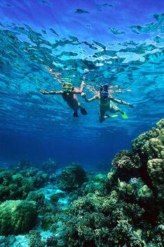 Girls having fun snorkeling.