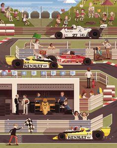 Scene #12: '1979'.  Pixel Art illustrations by Octavi Navarro. 2014.  http://www.pixelshuh.com/