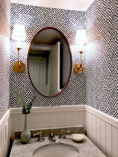 classic • casual • home: Fresh Indigo/White/Aged Brass Powder Room and Laundry Room--Before and After