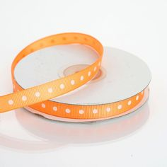 "25 Yards 3/8"" Coral Orange Grosgrain Polka Dot Ribbon"