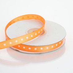 "25 Yards 3/8"" Coral Orange Grosgrain Polka Dot Ribbon Purple Hues, Coral Orange, Burlap Ribbon, Grosgrain Ribbon, Fake Rose Petals, Ribbon Decorations, Feather Crafts, Valentines Day Decorations"