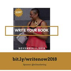 Is this the year you FINALLY write your book? . Are you READY to tell your story? . Do feel STUCK with your writing and need help with where to start? . If so, I have good news for you! . In honor of National Women's Entrepreneurship month... . Best-selling 8-time Author, Professional Speaker & Trainer, Master Business Coach, Messaging Expert, Founder, The Boss Of Me, AJ Austin [Sponsor: @w2smarketing] . Will Host #WriteNow2018; a 1-day writer's retreat to show you how to successfully…
