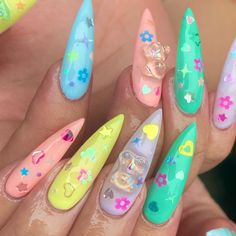 Extra long pastel stiletto nails with sequins and gummy bears Gummy Bears, Stiletto Nails, Nail Inspo, Nail Art, Candy, Claws, Sweet, Sequins, Pastel