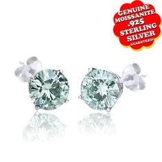 "1/2 Ct Round Brilliant Green Moissanite 14K Gold Finish Solitaire Earrings ""Mother\'s Day Gift"". Starting at $99"