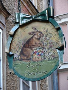 Antique Storefronts and Signs ~ Easter Egg shop in Salzburg, Austria. Shop Signage, Metal Signage, Storefront Signs, Modernisme, Pub Signs, Shop Fronts, Beltane, Store Signs, Hanging Signs