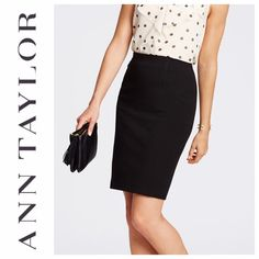 """Ann Taylor Black Ponte Pencil Skirt NWT Black Ponte pencil skirt. Sculpted with gorgeous seaming details. Hidden back zipper with snap closure. 22 1/2"""" long. 14"""" waist.  Images of blue to skirt just show seaming details. Ann Taylor Skirts Pencil"""