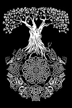 Yggdrasil Tree of Life shirt from Design By Humans. Find new daily and limited time shirt deals at Daily Shirts. Yggdrasil Tattoo, Norse Tattoo, Wicca, Tree Of Life Artwork, Types Of T Shirts, Life Poster, Celtic Tree Of Life, Celtic Art, Celtic Designs