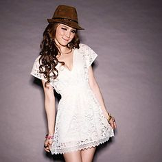 Shop V Neck Short Sleeve Slim White Lace Dress online. SheIn offers V Neck Short Sleeve Slim White Lace Dress & more to fit your fashionable needs. Cute Dresses, Short Sleeve Dresses, Dresses With Sleeves, Summer Dresses, Cheap Dresses, Cute Korean Fashion, Low V Neck Dress, Mini Vestidos, The Dress
