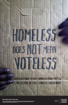 National Homeless & Low Income Voter Registration Week is next week!  What are you doing? http://www.nationalhomeless.org/projects/vote/index.html